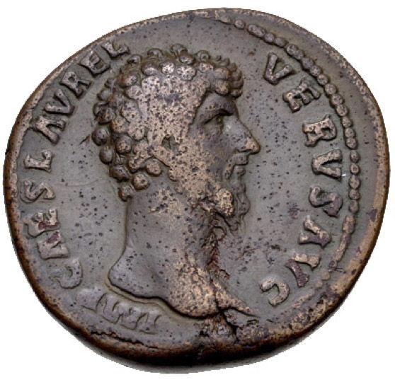 Roman Empire, Lucius Verus, Sestertius - Obv