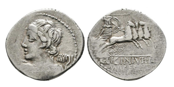 Roman Republic, C. Licinius, Denarius