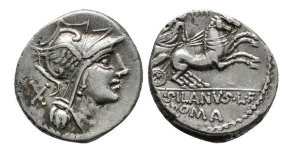 Roman Republican, D. Junius Silanus, Denarius
