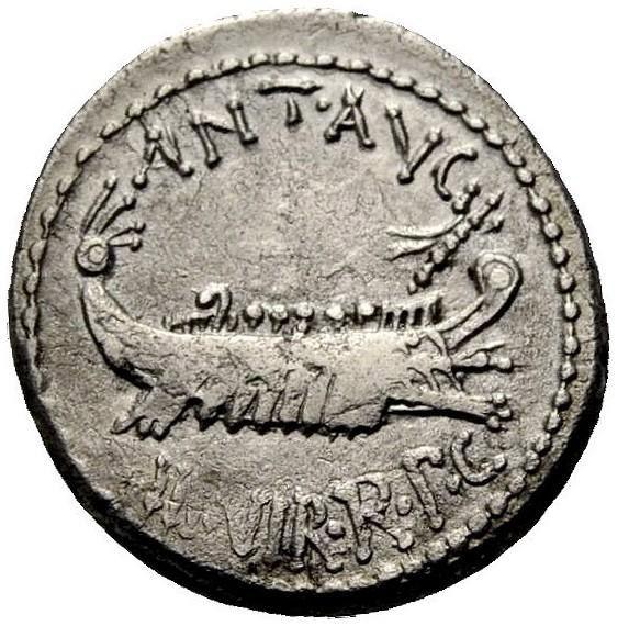 Roman Republican, Mark Antony, Denarius - Obv