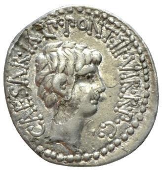 Roman Republican, Mark Antony & Octavianus, Denarius - Obv