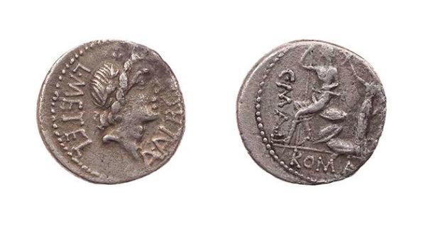 Roman Republican, L Caecilius Metellus, Denarius