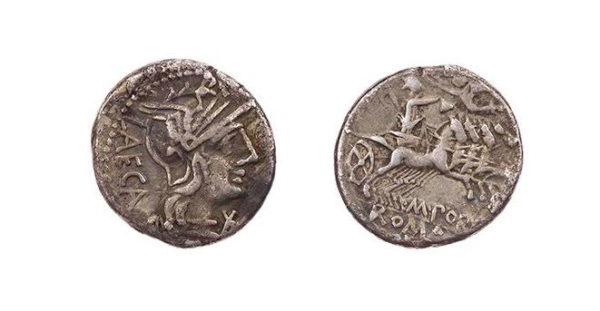 Roman Republican, M Porcius Laeca, Denarius