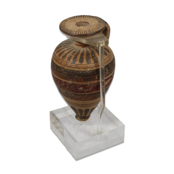 Greek piriformed aryballos with strip decoration