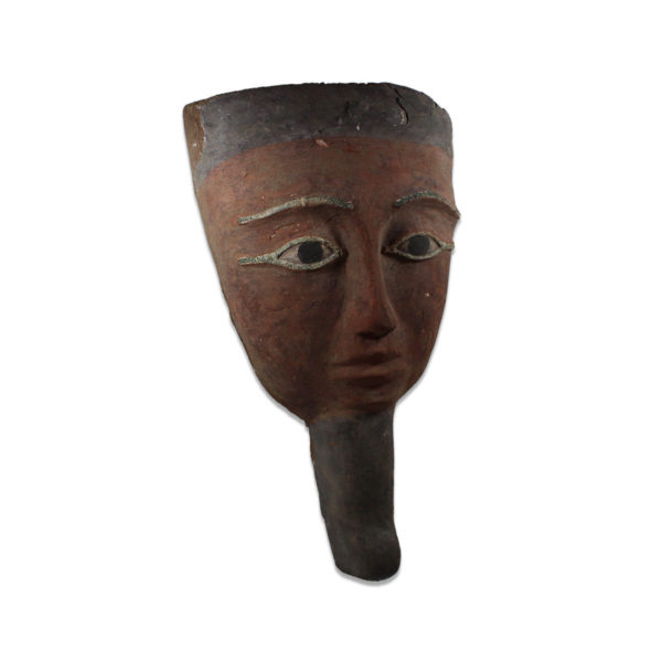 Egyptian bearded mummy mask with bronze eyes
