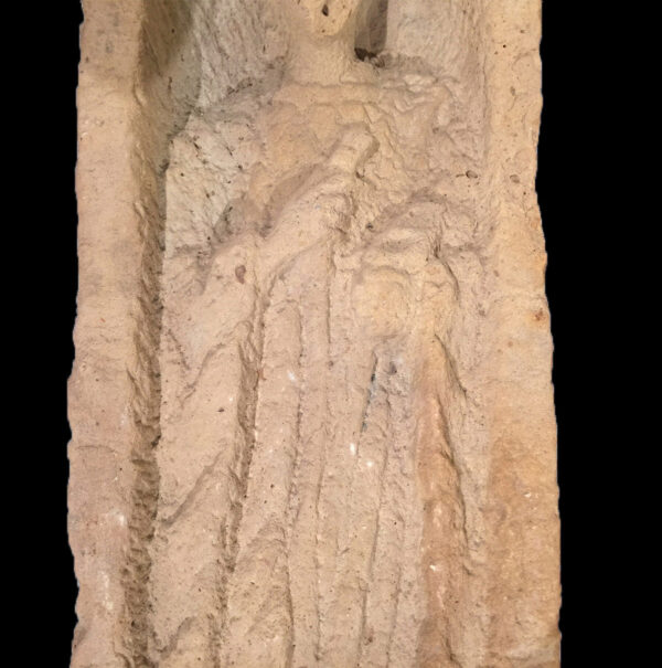 Roman funerary stele of figure with toga and roll