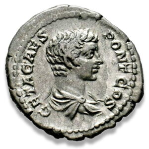 Roman Imperial, Geta, Denarius - Obv