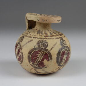 Greek aryballos with hoplites