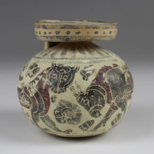 Greek aryballos with panther, bull and swan