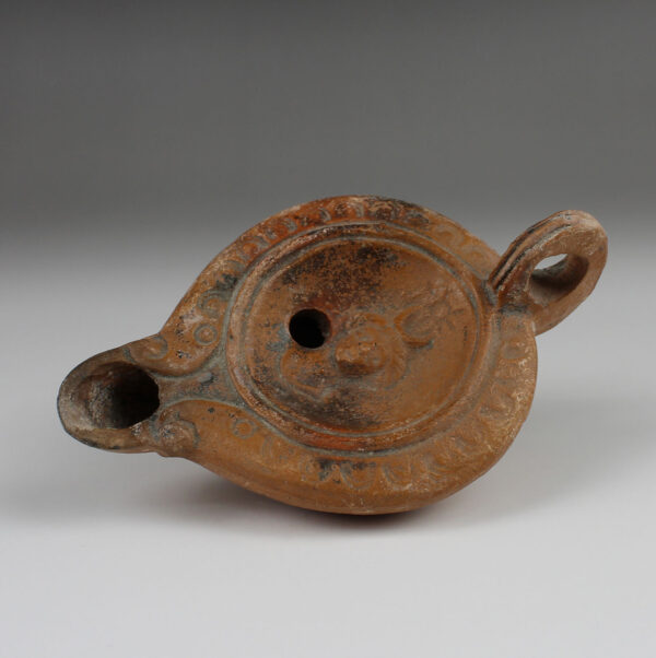 Roman oil lamp with Luna
