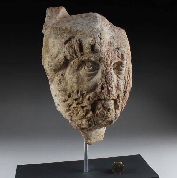 Roman portrait head of a bearded man